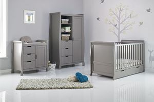 OBaby Stamford Classic 3 piece Room Set White with Taupe Grey