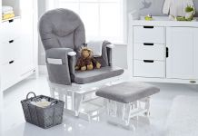 OBaby Reclining Glider & Stool White/Grey