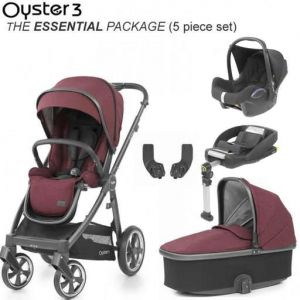 BabyStyle Oyster 3 Essential Bundle Berry on City Grey or Mirror Chassis