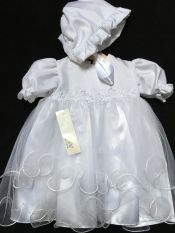 Tara Lee Christening Dress & Bonnet White 6-12 mths