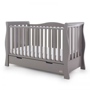OBABY Luxe Sleigh Cot Bed Taupe Grey