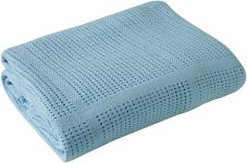 CLAIR DE LUNE Cot & Cot Bed Cotton Cellular Blanket Blue