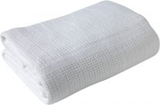 CLAIR DE LUNE Cot & Cot Bed Cotton Cellular Blanket White