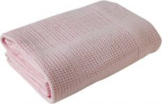CLAIR DE LUNE Cot & Cot Bed Cotton Cellular Blanket Pink