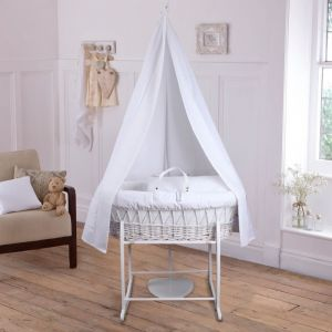 Clair de Lune 6 piece Wicker Moses Basket Set White