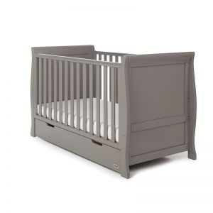 OBABY Stamford Classic Cot Bed & Drawer Taupe Grey