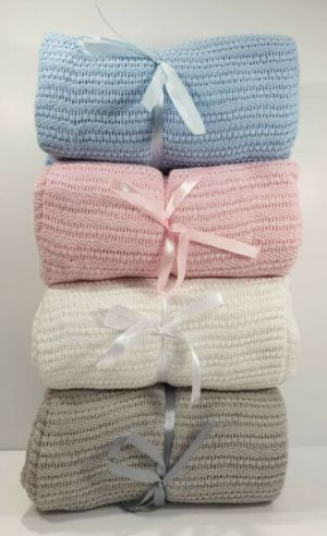 Cotton Cellular Pram Blanket - Pink, Blue, Grey or White