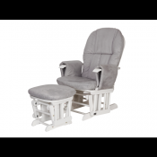 Tutti Bambini Reclining Glider and Stool - White/Grey