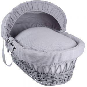Wicker Moses Basket Grey with Grey Waffle Drapes