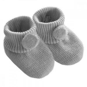 Booties Knitted Pom Pom Grey 0-6 mths