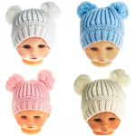 Hat Two Pom Pom 0-6 mths - Blue, Pink, White or Cream