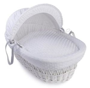 CLAIR DE LUNE Wicker Moses Basket White with White Dimple Drapes
