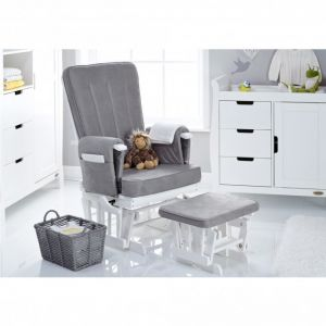 OBABY Deluxe Glider & Stool White/Grey