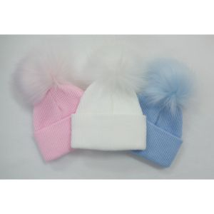 Hat Ribbed Knitted Fur Pom Pom - Blue, Pink or White