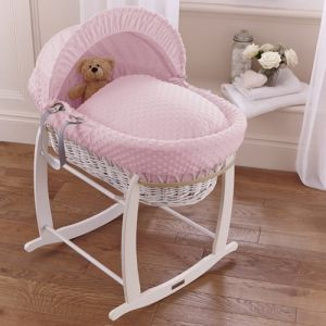 White Wicker Moses Basket with Pink Dimple Drapes