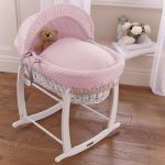 Wicker Moses Basket White with Pink Dimple Drapes