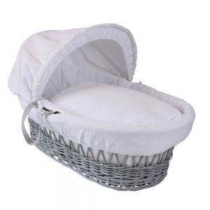 CLAIR DE LUNE Wicker Moses Basket Grey with White Waffle Drapes