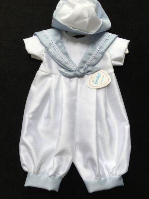 Kinder Sailor Christening Romper & Hat 6-12 mths