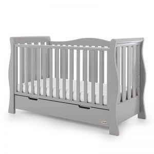 OBaby Luxe Sleigh Cot Bed Warm Grey
