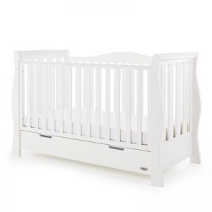 OBaby Luxe Sleigh Cot Bed White