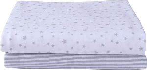 CLAIR DE LUNE Pram Fitted Sheets Stars & Stripes Grey