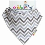 "Dribble Ons Bandana Bib ""Grey Chevrons"""