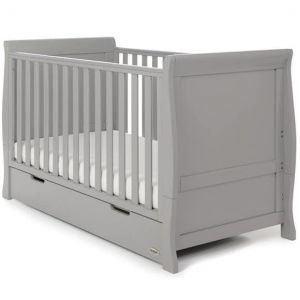 OBABY Stamford Classic Cot Bed & Drawer Warm Grey