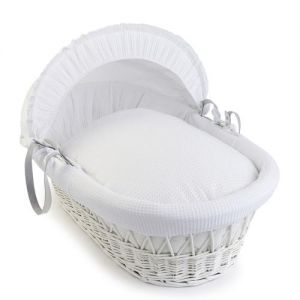 CLAIR DE LUNE Wicker Moses Basket White with White Waffle Drapes